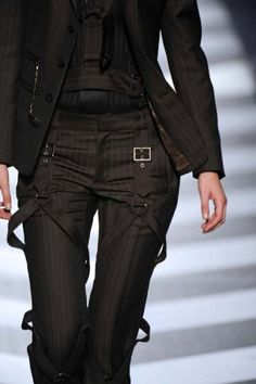 Pinstripe trousers #buckles #style