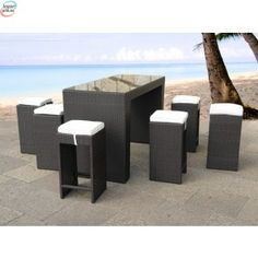 Rattan Outdoor Furniture Set from Beliani - Contemporary Bar Table with 6 Chairs - VERONA by Beliani