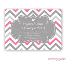 Baby shower hot pink and grey chevron printable by ceremoniaGlam, $9.50