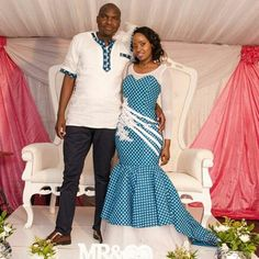 The shweshwe fashion the latest trends from south Africa - Reny styles African Traditional Dresses, Traditional Wedding Dresses, Traditional Outfits, African Attire, African Wear, African Dress, Shweshwe Dresses, African Wedding Dress, Couple Outfits