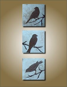 Three Little Birds/ Antique Baby Blue THREE PIECE SET- 5x15 Unique Sculptural Painting, $75
