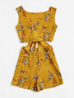 Shop Floral Print V Back Tie Multiway Top With Shorts at ROMWE, discover more fashion styles online. New Outfits, Dress Outfits, Summer Outfits, Casual Outfits, Fashion Outfits, Womens Fashion, Pretty Outfits, Cute Outfits, Girls Bathing Suits