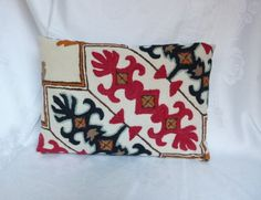 Decorative Pillow ~ Vintage Crewel Work Fabric ~ Handmade Pillow by HeySardine ~ Invisible Zipper ~ Quality Handwork ~ Ethnic Chic by HeySardine on Etsy Handmade Pillows, Handmade Gifts, Ethnic Chic, Printing On Fabric, 18th, Throw Pillows, Trending Outfits, Unique Jewelry, Prints