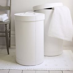 White Leather Laundry Bins - Bathroom Accessories | The White Company