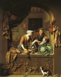 A Woman and a Fish-pedlar in a Kitchen | oil painting,1713 | Willem van Mieris ----- National Gallery, London 1713, Willem van Mieris