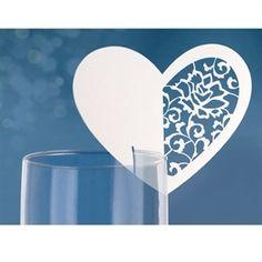 Bordkort bryllup, Bordkort hvidt hjerte der sættes på glas kanten. #bryllup #bordkort #wedding