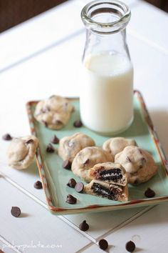 Itty Bitty Oreo Stuffed Chocolate Chip Cookies
