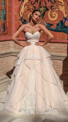 victoria soprano 2018 bridal strapless sweetheart neckline heavily embellished bodice romantic princess blush ball gown a  line wedding dress chapel train (chantal) mv -- Victoria Soprano 2018 Wedding Dresses #wedding #bridal #weddings