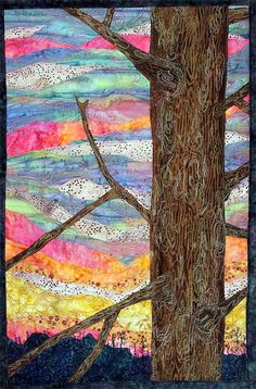 Quilted wall hanging of winter sunset by JPGstudio2536 on Etsy, $155.00