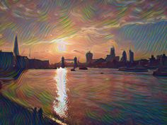 Sunsetting on the Thames Pinterest Co, Artsy, Painting, Painting Art, Paintings, Drawings