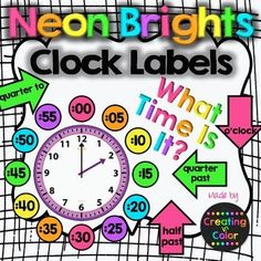 Clock labels in fun, bright, neon colors! Help your students with this fun scaffold that helps them tell time on analog clocks. Two sizes are in the file inches diameter and inches diameter) so you can pick the perfect size for your room and clock. Classroom Clock, 3rd Grade Classroom, New Classroom, 4th Grade Math, Classroom Themes, Teaching Clock, Teaching Time, Teaching Activities, Teaching Tools