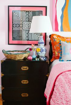 framed print + pink matting...excellent idea for fabrics bought in africa! via i suwannee