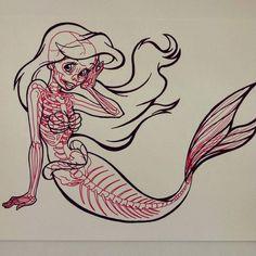 Ariel - X-Ray series - skeletons of cartoon characters by Chris Panda