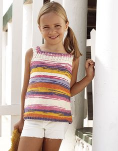 Revista Niños 81 Primavera / Verano | 32: Niños Top | Crudo-Rosa-Amarillo-Violeta oscuro-Naranja Summer Knitting, Knitting For Kids, Crochet For Kids, Baby Knitting, Knit Crochet, Toddler Summer Dresses, Knitting Magazine, Cute Outfits For Kids, Knitting Accessories
