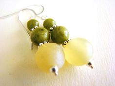 Luck and Harmony Earrings  Jade and Serpentine by stonesofhealing2, $18.00