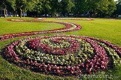 Spiral flower beds.