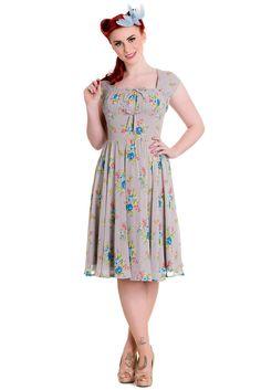 9d98c521adf28 Hell Bunny Roslyn Dress 40 s 50 s Floral Rockabilly Retro Vintage Tea  Cocktail
