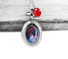 Midnight Pink Cosmic Galaxy Swarovski Red Crystal Silver Oval Picture Locket Sterling Silver Necklace
