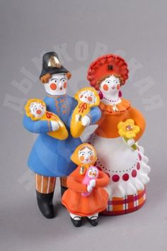 Чуркина Светлана Федоровна - Семейка Russian Folk, Russian Art, Russian Fashion, Folk Art, Art Decor, Arts And Crafts, Porcelain, Pottery, Clay
