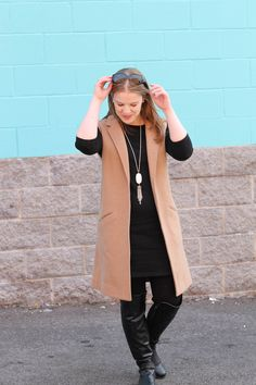 The Little Black Work Dress | Something Good, women, fashion, clothing, style, clothes, little black dress, camel sleeveless trench, gap vest, old navy dress, over the knee boots, black leather boots, kendra scott necklace, work outfit, fall outfit @danaerinw