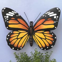 Metal Monarch Butterfly Wall Art Decorative Hanging Sculpture For Your Home for sale online Butterfly Painting Easy, Metal Butterfly Wall Art, Butterfly Wall Decor, Butterfly Cakes, Butterfly Art, Monarch Butterfly, Butterfly Stencil, Garden Animals, Hanging Wall Art