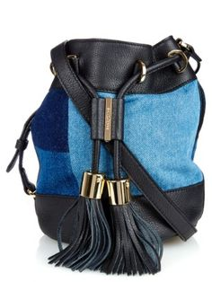 Patchwork-denim and leather bucket bag | See By Chloé | MATCHESFASHION.COM UK