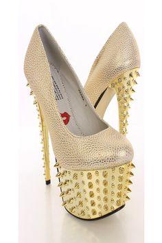 Gold Metallic Texturerd Spiky Platform Heels