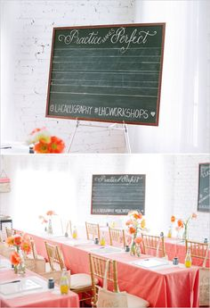 Practice makes perfect chalkboard for calligraphy class by Laura Hopper. Captured By: Jodi Miller Photography ---> http://www.weddingchicks.com/2014/05/21/laura-hooper-calligraphy-workshop/