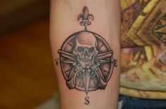 Custom Pirate Compass Tattoo by Joshua Doyon (IG: @InkedUpGing)