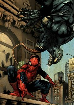 comics-station: (Spider-man Venom color Marvel) By: Gabrielguzman. Venom Comics, Marvel Comics Art, Fun Comics, Marvel Heroes, Marvel 3, Spiderman Venom, Marvel Venom, Spiderman Art, Toxin Marvel