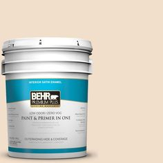 BEHR Premium Plus 5-gal. #S250-1 Macaroon Cream Satin Enamel Interior Paint