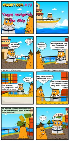 Daily Comics from Yogyaland.com www.yogyaland.com/comic_strip/yogya-navigates-the-ship Funny Comics For Kids, Comic Strips, Ship, Comic Books, Ships, Comics