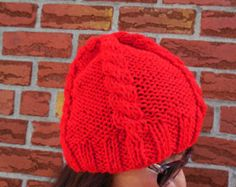 Hot pink Majenta handmade cabled hat with fur camel by KnitSew4U