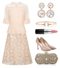 """""""Untitled #2230"""" by claireyim ❤ liked on Polyvore featuring Rochas, Tanya Taylor, Jimmy Choo, Marchesa, Larkspur & Hawk, MAC Cosmetics and Tiffany & Co."""