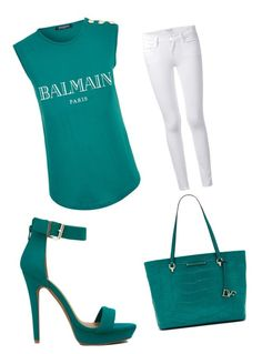 """""""Real"""" by ashola18 ❤ liked on Polyvore featuring Balmain, Frame Denim and Diane Von Furstenberg"""