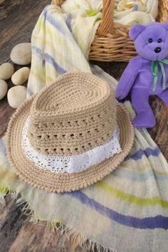 Baby Girl Fedora Hat Crochet Toddler Fedora Cotton Summer Hat Newborn Photography Props Baby Shower Gift Infant Girls from milazshop on Etsy.