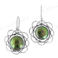 """7/8"""" Flower Green Biwa Pearl 925 Sterling Silver Earrings, absolutely beautiful, I will be awaiting for them"""