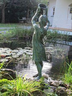Garden fountain and pond Magic Garden, Dream Garden, Garden Art, Garden Design, Outdoor Water Features, Water Features In The Garden, Garden Fountains, Garden Statues, Yard Water Fountains