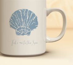 Nautical Coffee Mug Available in 4 Colors | Quick Ship! Seashell Mug | Nautical Coffee Mug Available in 11 oz., 15 oz.  | Gift for Her