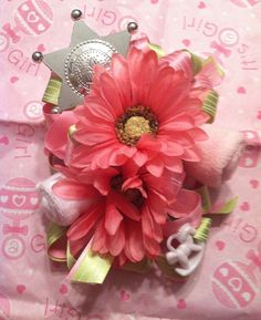 Baby girl western theme baby shower corsage...