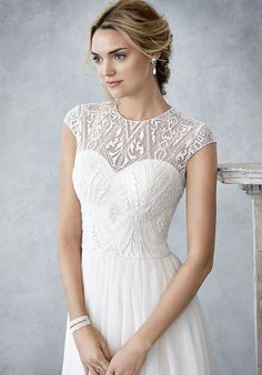Kenneth Winston: Ella Rosa Collection A-Line Wedding Dress Elegant Wedding Dress, Designer Wedding Dresses, Pretty Dresses, Beautiful Dresses, Bridal Gowns, Wedding Gowns, Wedding Frocks, Wedding Dress Shopping, Occasion Dresses