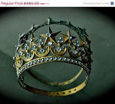 SALE CELESTIAL 1850s Antique French Gold Madonna Crown Tiara Medieval ornate Stars & crystal Rhinestones Garland Wedding Bridal Fai