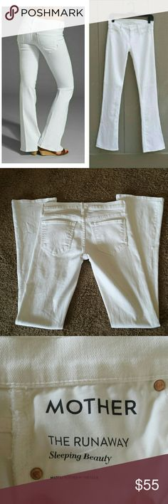 """Mother """"The Runaway"""" Sleeping Beauty White Jeans These are from the brand Mother in white in a size 26. They have a skinny leg with a flare. They're in excellent condition with no flaws, stains, ect, and are so soft and sexy on. They retailed at  $220. The measurements are taken laying flat.  The inseam is 34"""", the rise is 8"""",the waist is 14 """", and the flare leg is 8"""". MOTHER Jeans"""