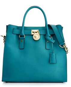 Michael Kors Blue Hamilton Saffiano Leather Tote