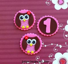 12 Edible Fondant Owl Cupcake Toppers - Brown and Pink Owls