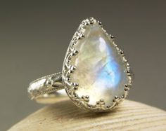 Rainbow Moonstone Ring Sterling Silver by TazziesCustomJewelry