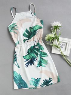 Shop Leaf Print Bow Tie Open Back Cami Dress at ROMWE, discover more fashion styles online. Girls Fashion Clothes, Teen Fashion Outfits, Cute Fashion, Outfits For Teens, Girl Outfits, Fashion Styles, Cute Simple Dresses, Pretty Dresses, Casual Dresses