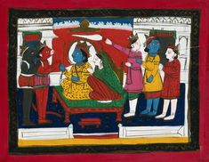 Page 158: Rama and Sita enthroned with Hanuman, Laksmana and others in attendance. Gouache drawing. | Wellcome Collection