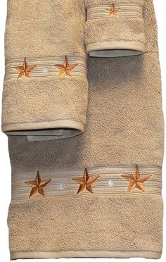 Barn Star Embroidered Linen Bath Towel 3 Pc Set - An almost neutral beige, . Western Bathroom Decor, Western Bathrooms, Bath Towel Sets, Bath Towels, Texas Star, Egyptian Cotton, Kitchen Towels, Master Bathroom, Rust