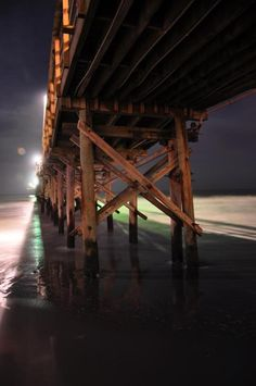 A unique nighttime view of the Cherry Grove Pier in North Myrtle Beach, South Carolina.